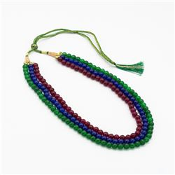Natural Ruby Blue Sapphire and Emerald Necklace