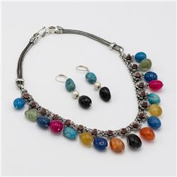 Certified Multi Color Onyx Necklace Earring Set