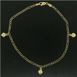 "14K Yellow Gold Puffed Heart Charm Figaro Link 10"" Anklet Ankle Bracelet 3.5g"
