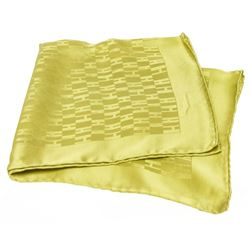 Hermes Green Grand H Faconnee Silk Pocket Square