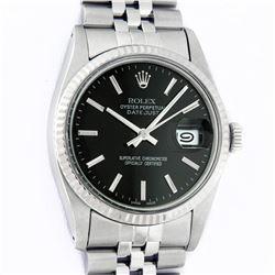 Rolex Mens Stainless Steel Black Index 36mm Datejust Wristwatch With Rolex Box