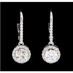 1.80 ctw Diamond Earrings - 14KT White Gold