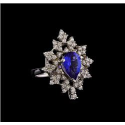 14KT White Gold 2.45 ctw Tanzanite and Diamond Ring