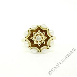 Vintage 14kt Yellow Gold 0.11 ctw Diamond and Pearl Halo Ring w/ Brown Enamel
