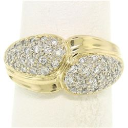 14k Yellow Gold 0.75 ctw Pave Round E VS Diamond Cluster Puffed Band Bypass Ring
