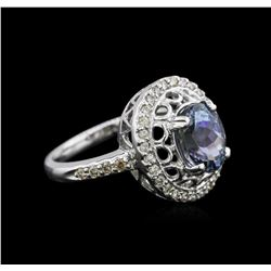 14KT White Gold 2.56 ctw Tanzanite and Diamond Ring
