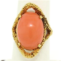 18k Yellow Gold Large Cabochon FINE Coral Nugget Textured Solitaire Ring