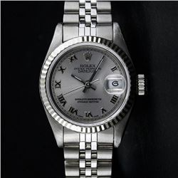 Rolex Ladies Stainless Steel Slate Grey Roman White Gold Bezel Datejust Wristwat