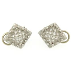 Barry Kieselstein Cord Platinum 0.50 ctw E VVS Diamond Pyramid Clip On Earrings
