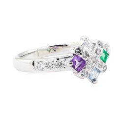 0.50 ctw Multi-Color Gemstone and Diamond Ring - 14KT White Gold