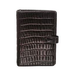 Giorgio Armani Brown Leather Embossed Agenda Notebook