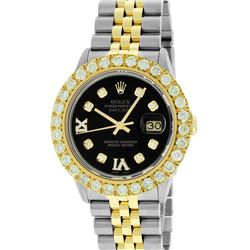 Rolex Mens 2 Tone Black VS 4 ctw Beadset Diamond Datejust Wristwatch with Rolex