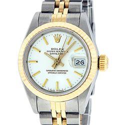 Rolex Ladies 2 Tone 14K White Index Fluted Datejust Wristwatch