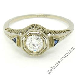 Antique Art Deco 18kt White Gold 0.46 ctw European Diamond Solitaire Filigree En
