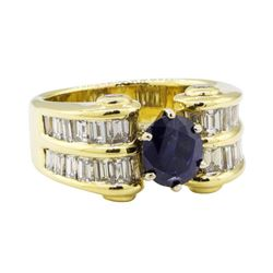 4.16 ctw Sapphire and Diamond Ring - 18KT Yellow Gold