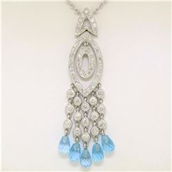 18k White Gold 1.30 ctw Diamond & Blue Topaz Briolette Chandelier Dangle Necklac