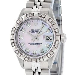 Rolex Ladies Stainless Steel Pink MOP Pyramid Diamond Datejust Wristwatch