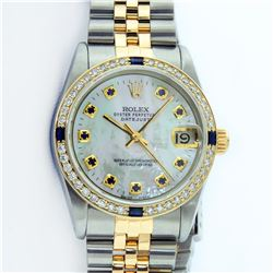 Rolex Mens 2 Tone 14K Mother Of Pearl Sapphire Datejust Wristwatch