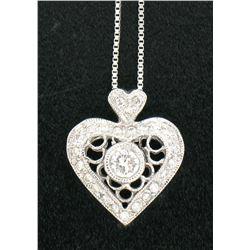 14K White Gold .40 CTW Diamond MilGrain Open Work Heart on White Gold Box Chain