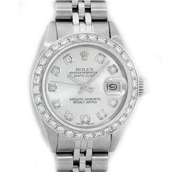 Rolex Ladies Stainless Steel Silver Diamond 18K Gold Bezel Datejust Wristwatch