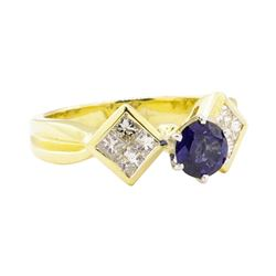 1.32 ctw Blue Sapphire And Diamond Ring - 18KT Yellow Gold