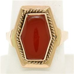 Vintage Russian 14kt Rose Gold Bezel Set Carnelian Hexagon Ring