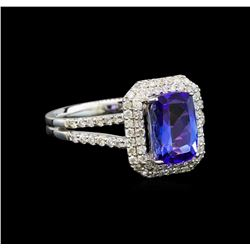 14KT White Gold 1.76 ctw Tanzanite and Diamond Ring