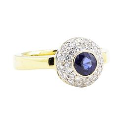 1.02 ctw Sapphire and Diamond Ring - 18KT Yellow Gold