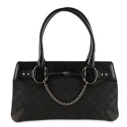 Gucci Horsebit Chain Shoulder Bag Black Gg Canvas Tote