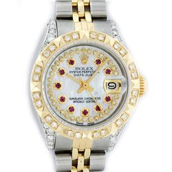 Rolex Ladies 2 Tone 14K MOP Ruby & Pyramid Diamond Datejust Wriswatch
