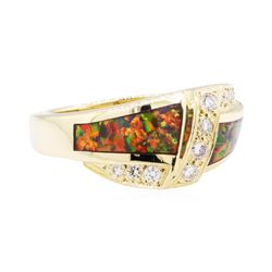 0.40 ctw Diamond Ring with Inlaid Synthetic Opal - 14KT Yellow Gold