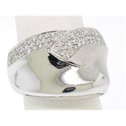 14k White Gold Dual Finish 1 ctw Pave Diamond Bold  Swirled Dinner Ring Band