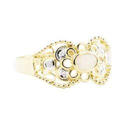 0.25 ctw Opal And Diamond Ring - 18KT Yellow Gold