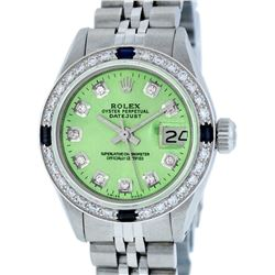 Rolex Ladies Stainless Steel Green Diamond & Sapphire Datejust Wristwatch