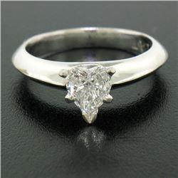 Platinum 0.66 ctw GIA Prong Set Heart Brilliant Diamond Solitaire Engagement Rin