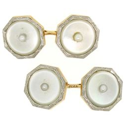 Men's Antique Art Deco Etched 14k Gold & Mother of Pearl Seed Octagon Cufflinks