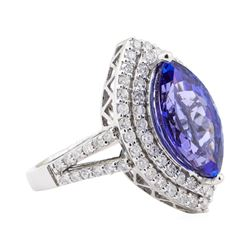 4.17 ctw Tanzanite and Diamond Ring - 14KT White Gold