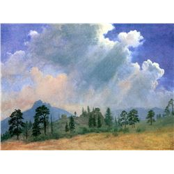 Fir Trees and Storm CLouds by Albert Bierstadt