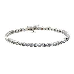 4.97 ctw Diamond Bangle Bracelet - 18KT White Gold