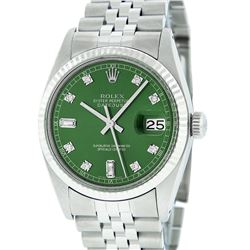 Rolex Mens Stainless Green Diamond 36MM Datejust Wristwatch