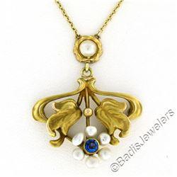 Antique Art Nouveau 14kt Yellow Gold Natural Pearl and Sapphire Tulip Pendant Ne
