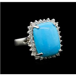 14KT White Gold 8.79 ctw Turquoise and Diamond Ring