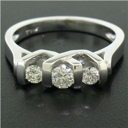 14K White Gold 0.40 ctw High Bar Set Round Brilliant Cut Diamond Band Ring Sz 6.