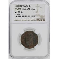 1848 Hungary War of Independece Kreuzer Coin NGC MS64