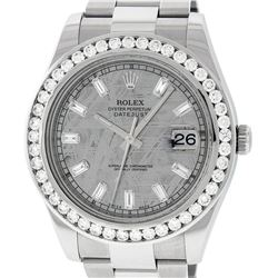 Rolex Mens SS 41MM Meteorite Baguette Diamond Datejust 2 Oyster Band Wristwatch