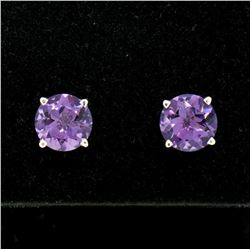 14k White Gold 2.30 ctw Round Amethyst  Simple 7mm Stud Earrings