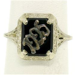 1925 14k White Gold Prong Set Black Onyx Filigree Dinner Ring