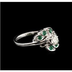 0.40 ctw Diamond and Emerald Ring - 14KT White Gold