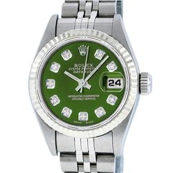 Rolex Ladies Stainless Steel Green Diamond Quickset Datejust Wristwatch