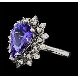 3.44 ctw Tanzanite and Diamond Ring - 14KT White Gold